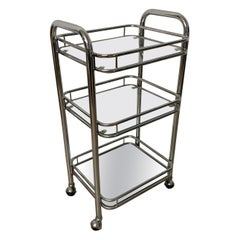 Tubular Chrome Art Deco Style Bar Cart on Castors