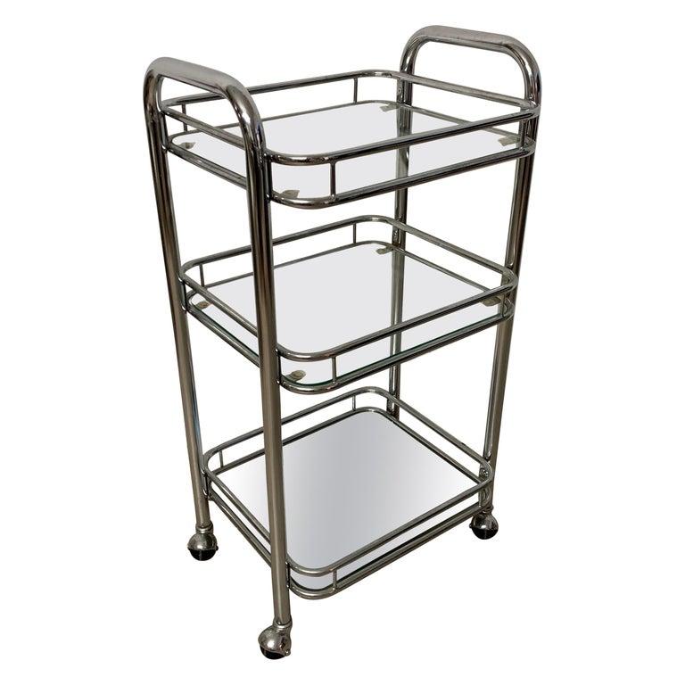 Tubular Chrome Art Deco Style Bar Cart on Castors For Sale