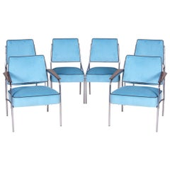 Tubular Chrome Bauhaus Blue Seating Set, 2 Armchairs and 4 Chairs, 1940s