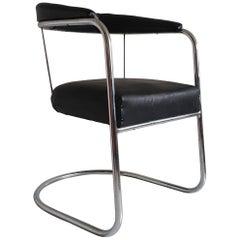 Tubular Chrome & Black Leatherette Bauhaus Style Chair by PEL, England