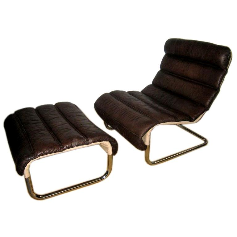 Tubular Leather Lounge Chair with Ottoman For Sale