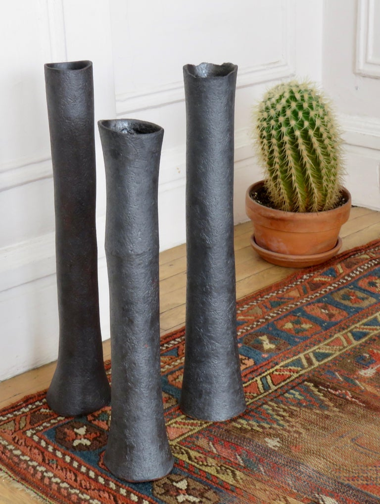 Tubular Metallic Black Ceramic Stoneware Vase For Sale 7