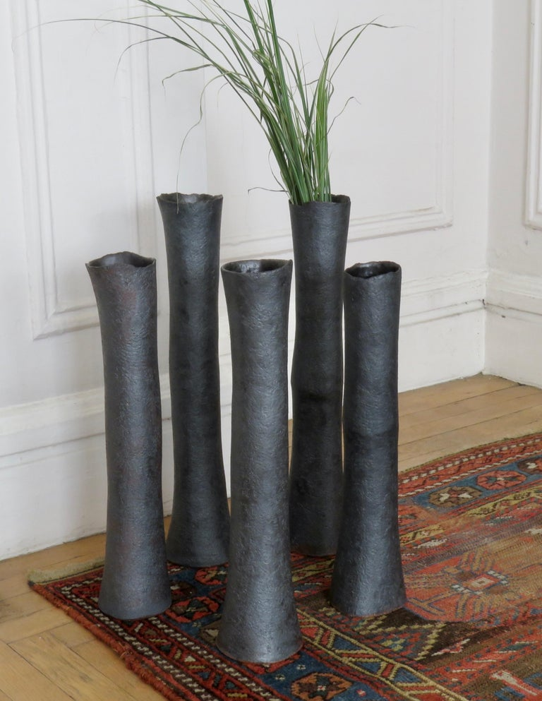 Tubular Metallic Black Ceramic Stoneware Vase For Sale 8