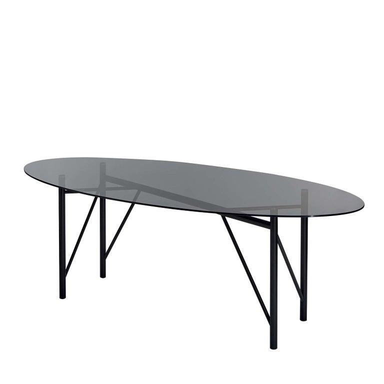 Modern Tubular Oval Dining Table For Sale