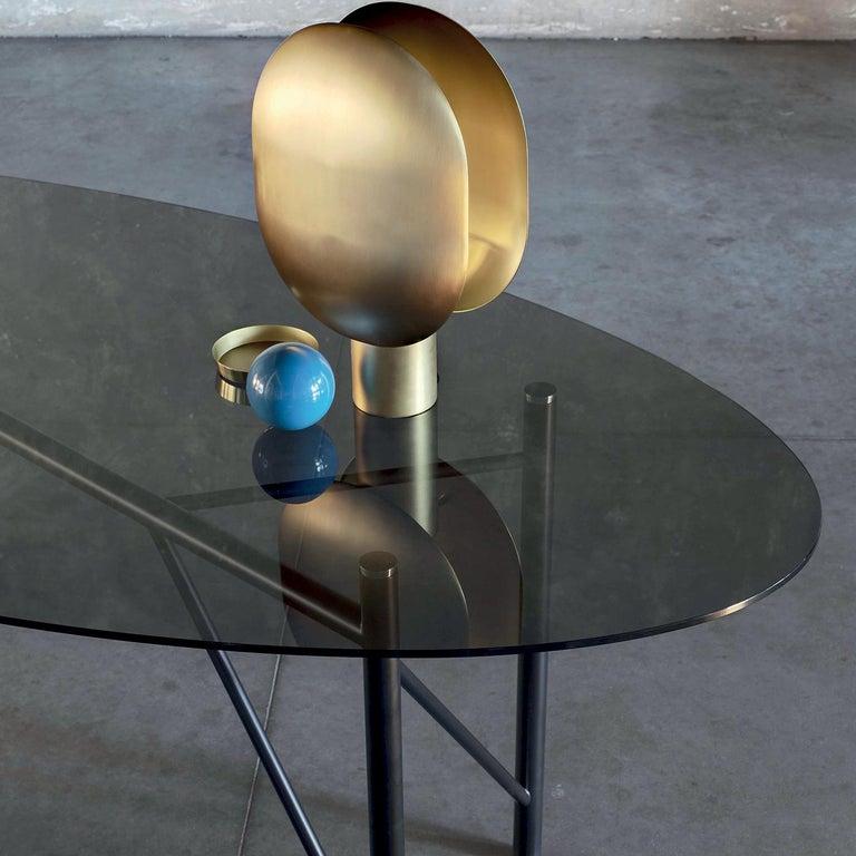 Italian Tubular Oval Dining Table For Sale