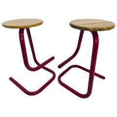 Tubular Red Lacquered Paperclip Stools by Amisco