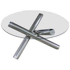 Tubular Stainless Steel Jacks Tripod Coffee Table Modern
