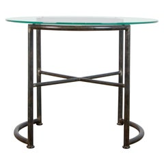 Tubular Steel and Glass Bauhaus Side Table
