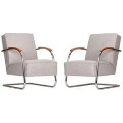 Röhrenförmige Stahl-Sessel von Mücke-Melder, 1930er, Set aus Zwei