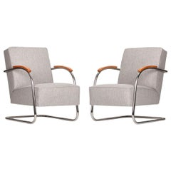 Tubular Steel Armchairs from Mücke & Melder, 1930s, Set of Two