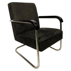 Tubular Steel Bauhaus Armchairs with Genuine Leather Upholstery, 1930s