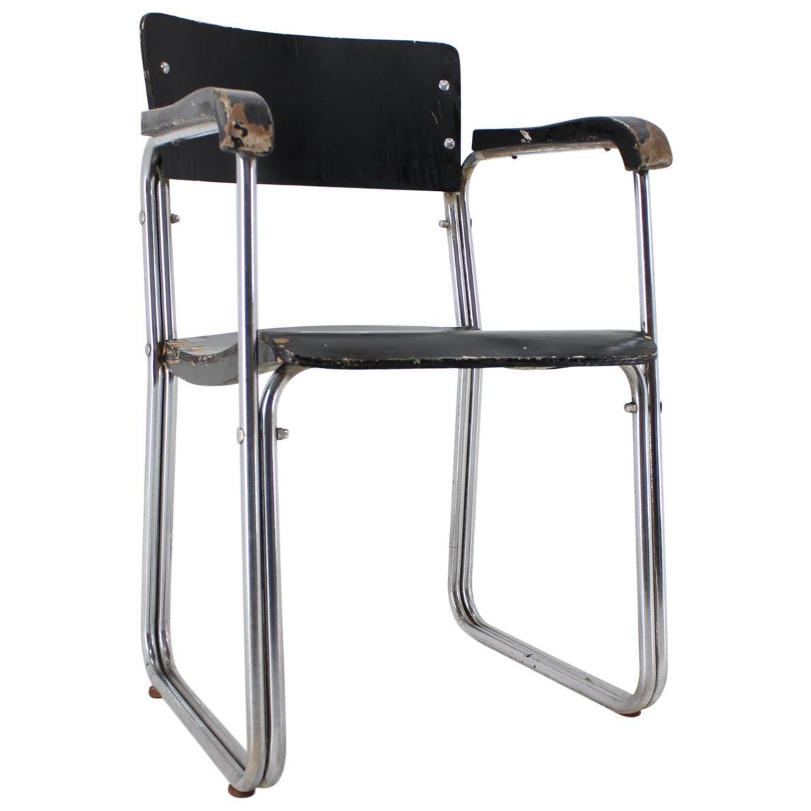 Tubular Steel Bauhaus Chrome Desk Chair, 1930s