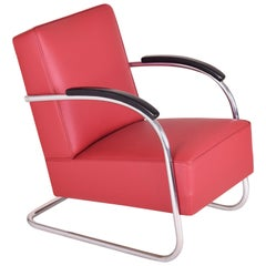 Tubular Steel Cantilever Armchair in Art Deco, Chrome, New Leather Upholstery