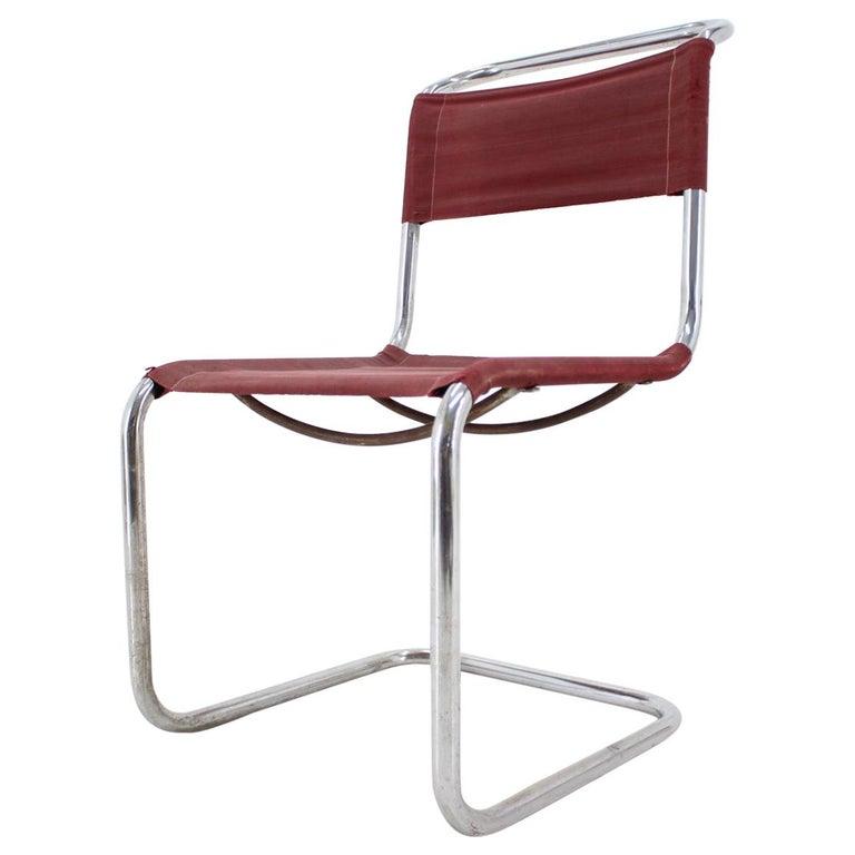 Tubular Steel Chrome Bauhaus Chair, Mart Stam, 1930 For Sale