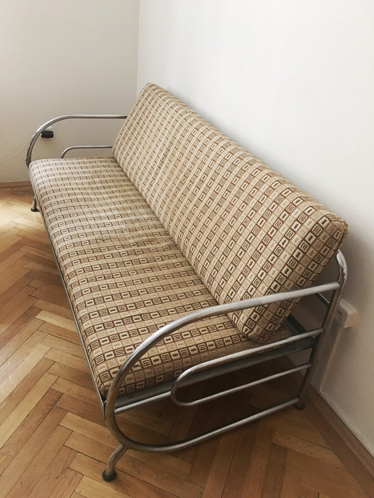 Bauhaus Tubular Steel Couch / Daybed by Robert Slezak, 1930s For Sale