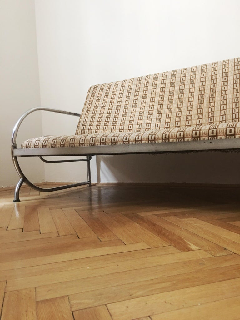 Tubular Steel Couch / Daybed by Robert Slezak, 1930s For Sale 1