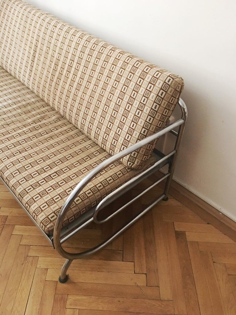 Tubular Steel Couch / Daybed by Robert Slezak, 1930s For Sale 2