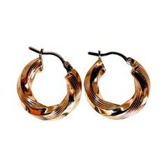 Tubular Twist 14 Karat Gold Hoop Earrings