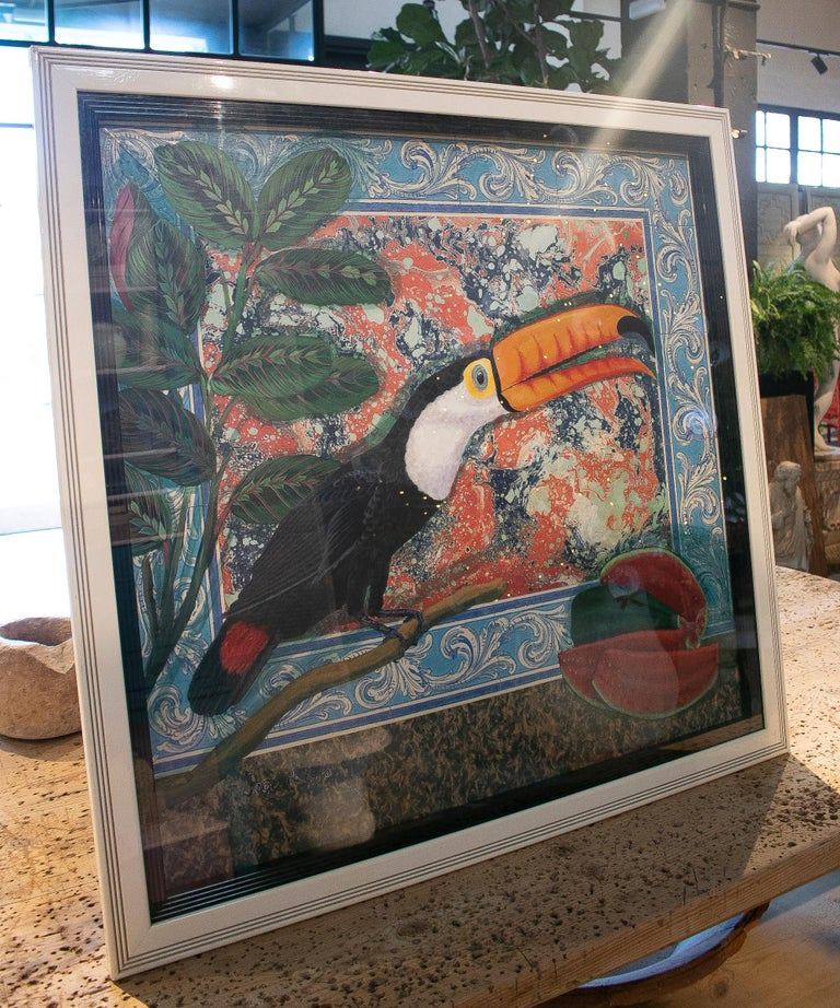 Tucan painting by Joao de Haro.  Dimensions with frame: 99 x 100 x 2cm.