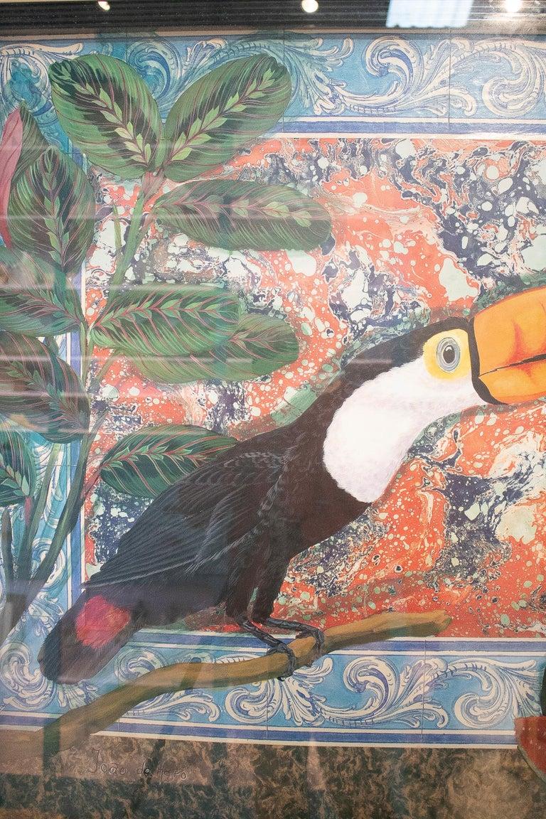Tucan Painting by Joao de Haro In Good Condition For Sale In Malaga, ES