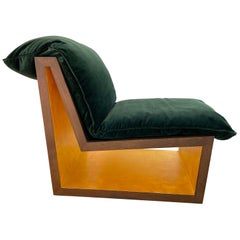 Tucker Lounge Chair, Contemporary, Walnut and Gold Leaf, by Dean and Dahl