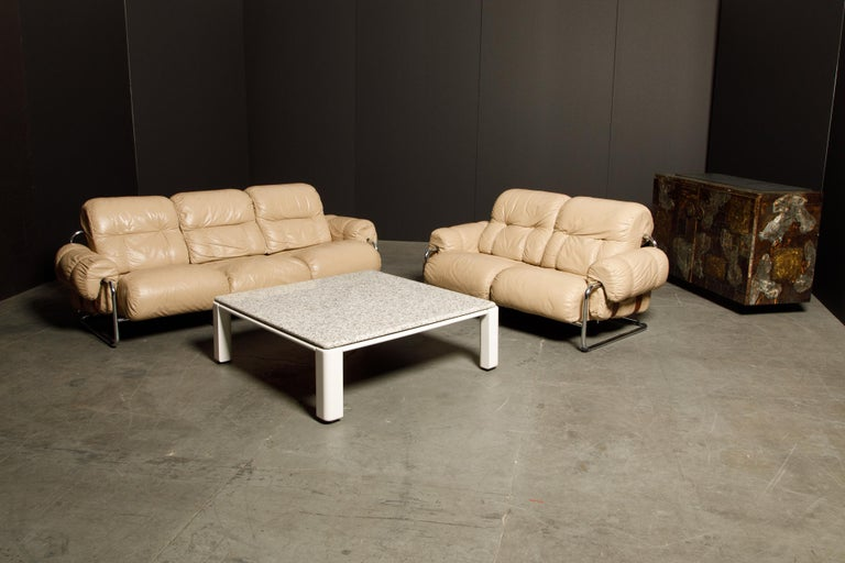 'Tucroma' Leather Sofa and Loveseat by Guido Faleschini for Mariani, 1970s Italy For Sale 7