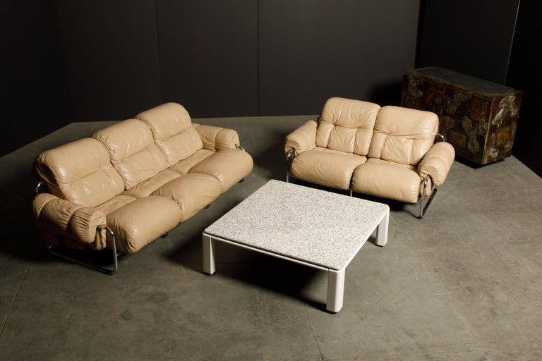 'Tucroma' Leather Sofa and Loveseat by Guido Faleschini for Mariani, 1970s Italy For Sale 8