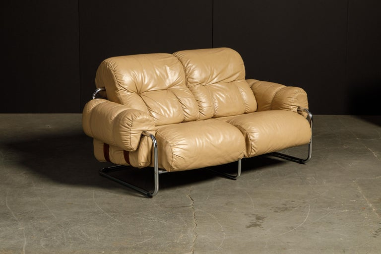 Italian 'Tucroma' Leather Sofa and Loveseat by Guido Faleschini for Mariani, 1970s Italy For Sale