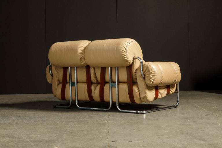 'Tucroma' Leather Sofa and Loveseat by Guido Faleschini for Mariani, 1970s Italy For Sale 1