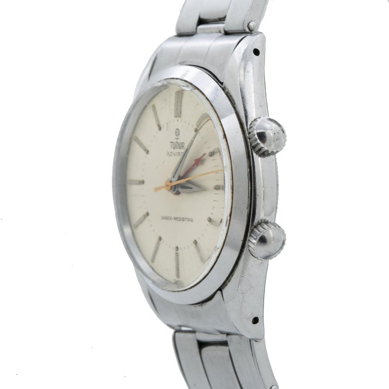 Modern Tudor Advisor Alarm 7926 Men's Manual Wind Stainless Steel For Sale
