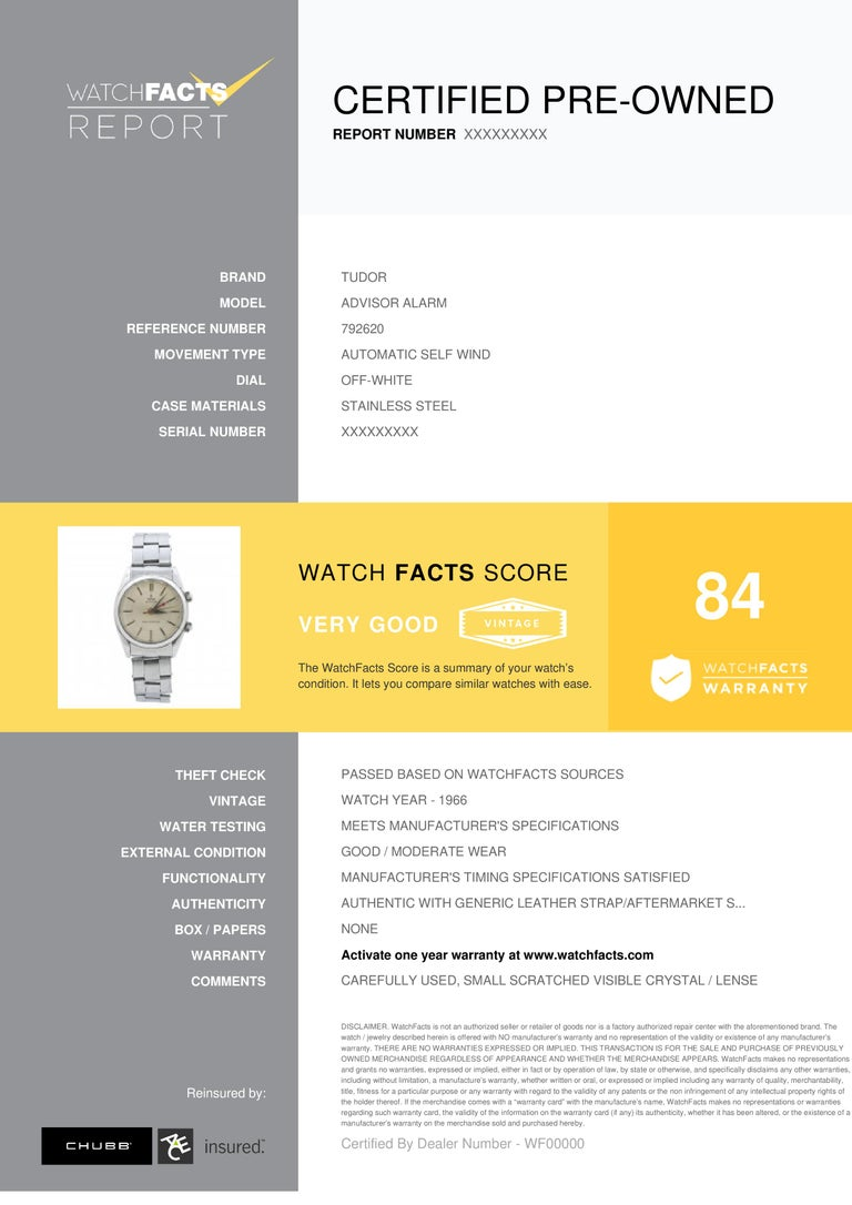 Tudor Advisor Alarm Reference #: 792620. Mens Automatic Self Wind Watch Stainless Steel Off White 34 MM. Verified and Certified by WatchFacts. 1 year warranty offered by WatchFacts.