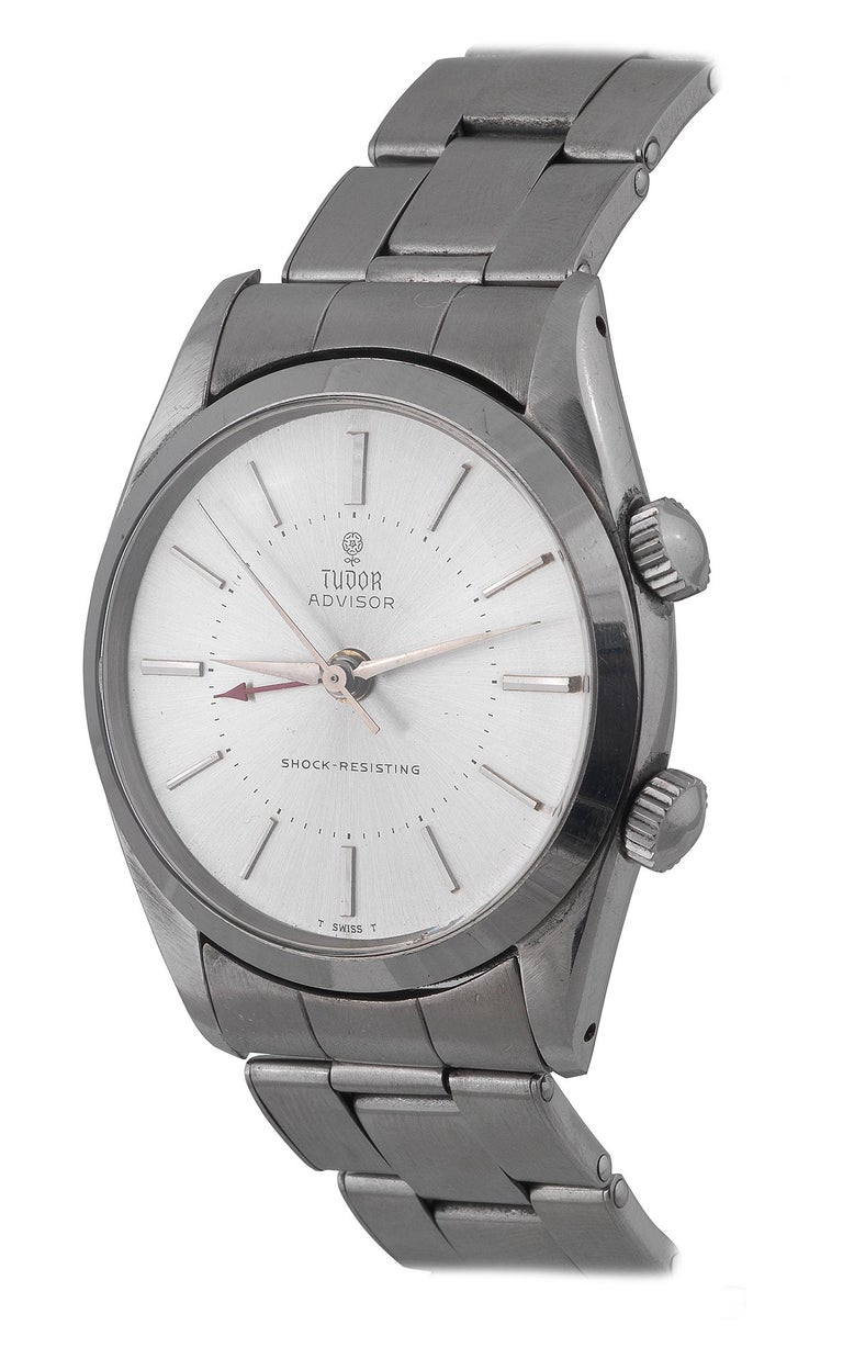 BERNARDO ANTICHITÀ, Ponte Vecchio, Florence  Fine, center-seconds, water-resistant, stainless steel wristwatch with alarm and a stainless steel riveted Rolex Oyster bracelet with deployant clasp. Case three-body, polished and brushed, screwed-down