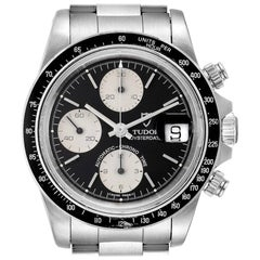 Tudor Big Block Black Dial Steel Vintage Men's Watch 79160 Box Papers