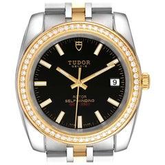 Tudor Classic Date Steel Yellow Gold Diamond Mens Watch 21023 Unworn