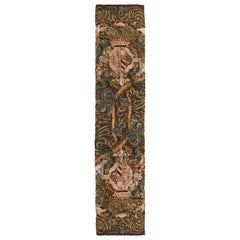 Tudor Crest Inspired Cream and Brown Floral Wool Runner