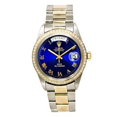 Tudor Day-Date 7019/3 Men's Automatic Watch Blue Dial 14 Karat YG Diamond Bezel