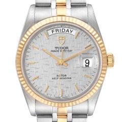Tudor Day Date Steel Yellow Gold Silver Dial Mens Watch 76213 Unworn
