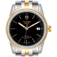Tudor Glamour Date Black Dial Steel Yellow Gold Men's Watch 55003 Unworn
