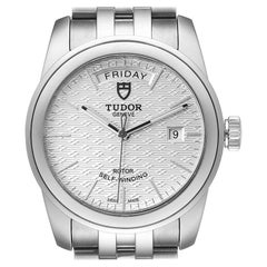 Tudor Glamour Day Date Steel Silver Dial Men's Watch 56000 Card