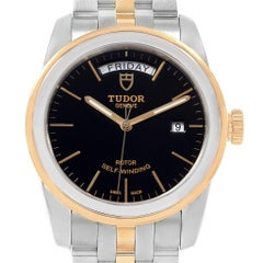 Tudor Glamour Day Date Steel Yellow Gold Men's Watch 56003 Box Papers