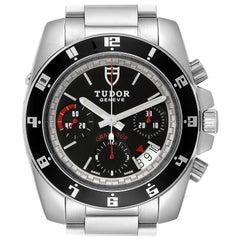 Tudor Grantour Black Dial Chronograph Steel Men's Watch 20350N Card