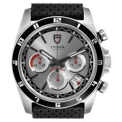 Tudor Grantour Silver Dial Chronograph Steel Men's Watch 20530N Box Card