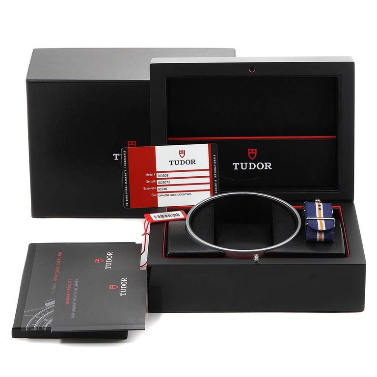 Tudor Heritage Chrono Blue Stainless Steel Men's Watch 70330 Box Card For Sale 7