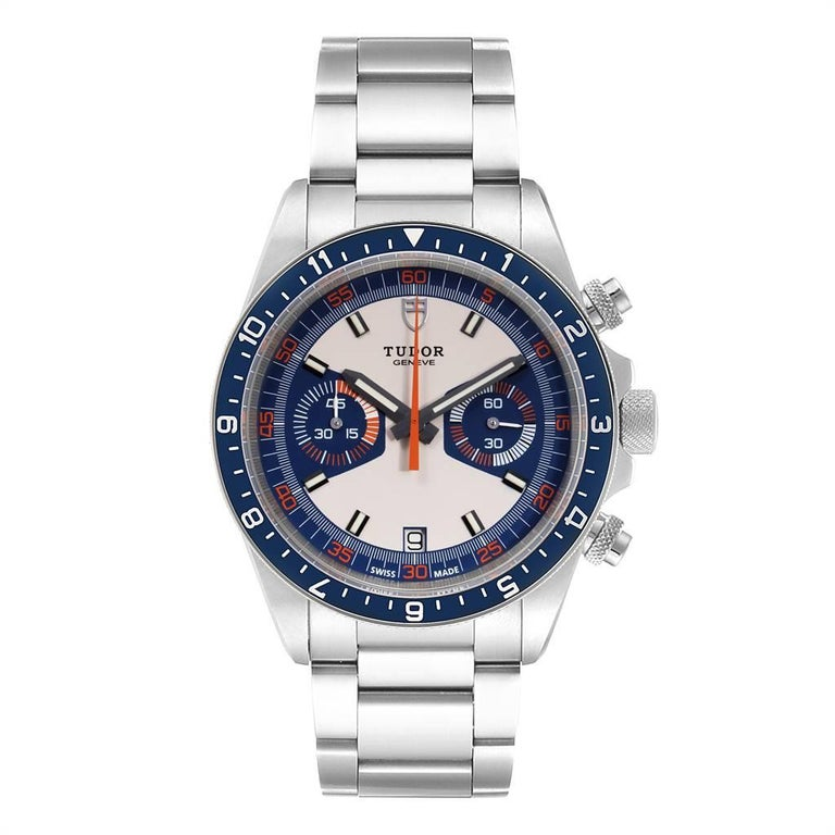 Tudor Heritage Chrono Blue Stainless Steel Mens Watch 70330 Box Card. Automatic self-winding movement with chronograph function. Stainless steel oyster case 42.0 mm in diameter. Crown with the blue lacquered shield and Tudor Logo. Bi-directional