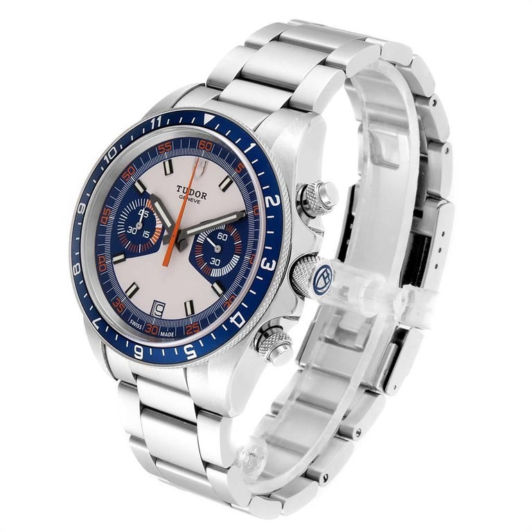 Tudor Heritage Chrono Blue Stainless Steel Men's Watch 70330 Box Card For Sale 1