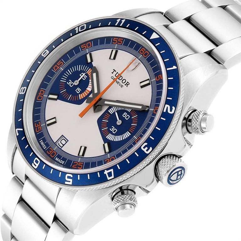 Tudor Heritage Chrono Blue Stainless Steel Men's Watch 70330 Box Card For Sale 2