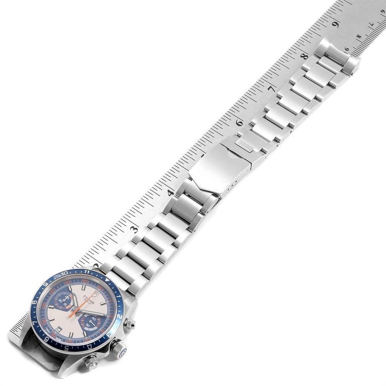 Tudor Heritage Chrono Blue Stainless Steel Men's Watch 70330 Box Card For Sale 4