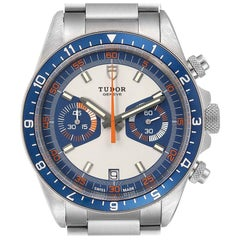 Tudor Heritage Chrono Blue Stainless Steel Men's Watch 70330 Box Card