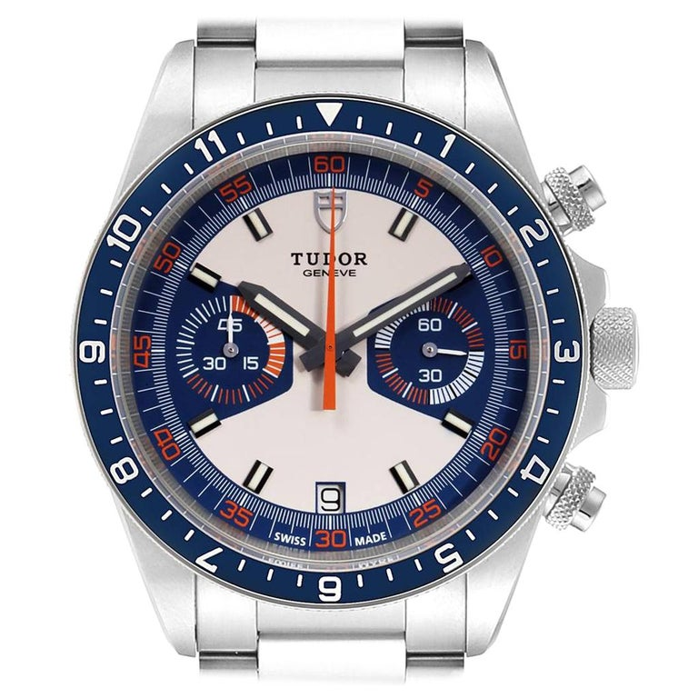 Tudor Heritage Chrono Blue Stainless Steel Men's Watch 70330 Box Card For Sale