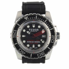 Tudor Hydronaut Steel Automatic Black Rubber Watch 25000 Box Papers